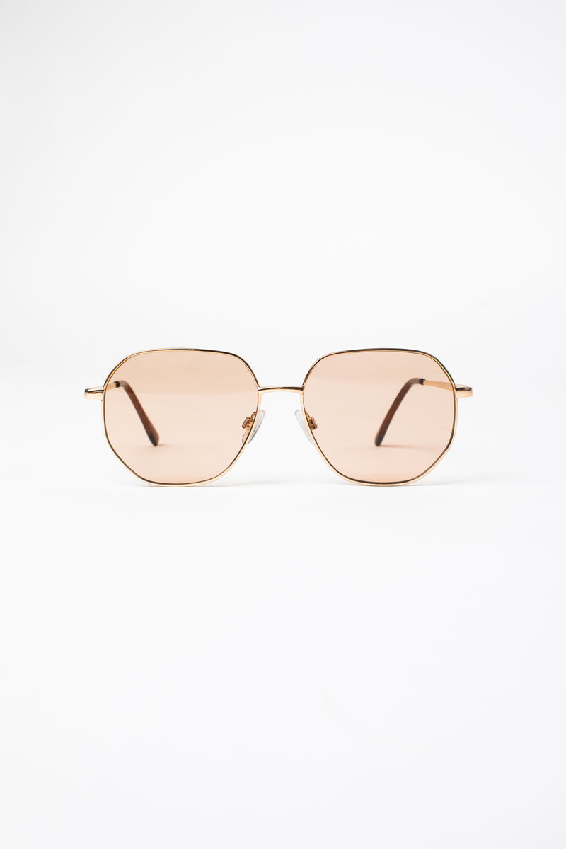 TUSCANY ROUNDED SUNGLASSES IN GOLD