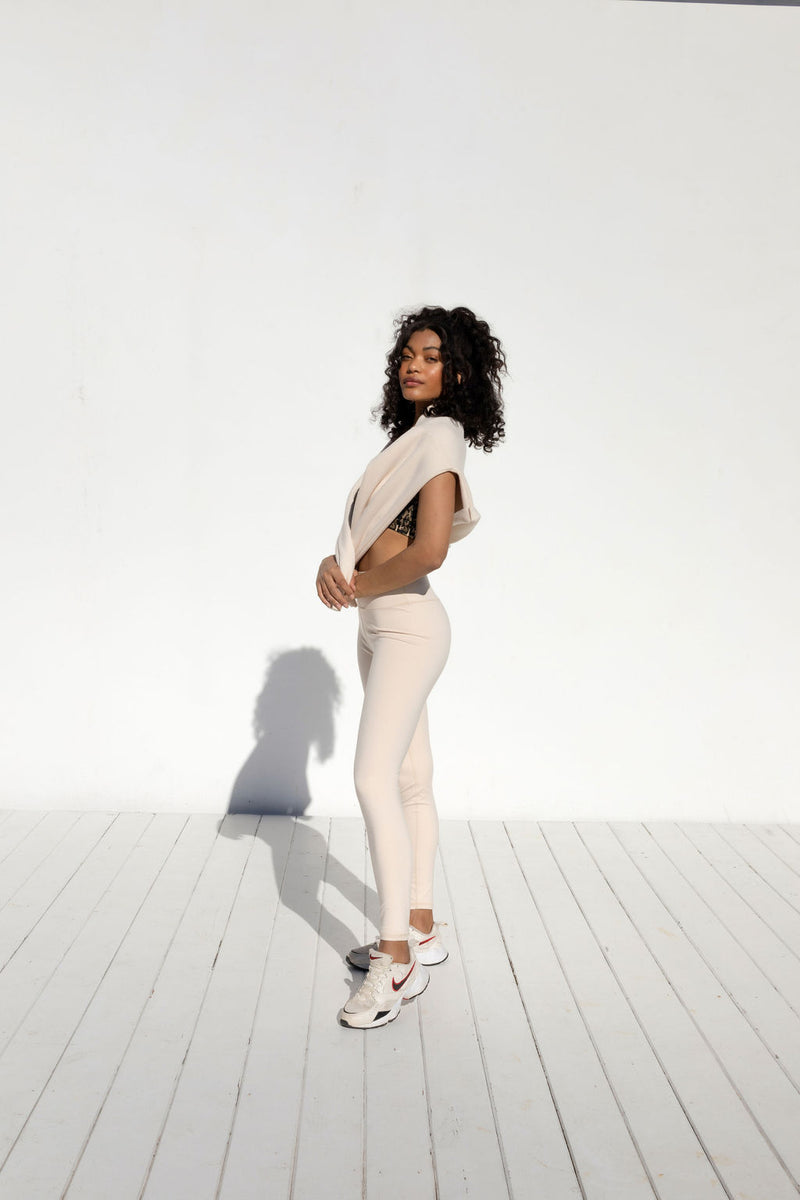 CASSIE CREAM ACTIVE LEGGINGS