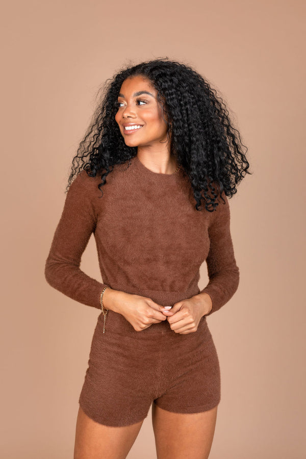 CHOCOLATE FUZZY LONG SLEEVE TOP