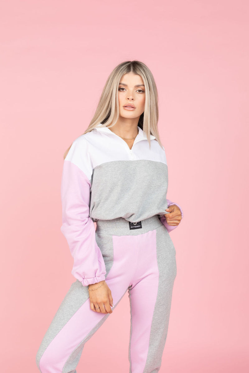 MIX MEDIA COLOR BLOCK HALF ZIP TOP