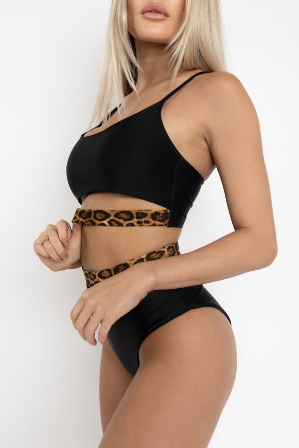 CANCUN BLACK AND LEOPARD BIKINI TOP