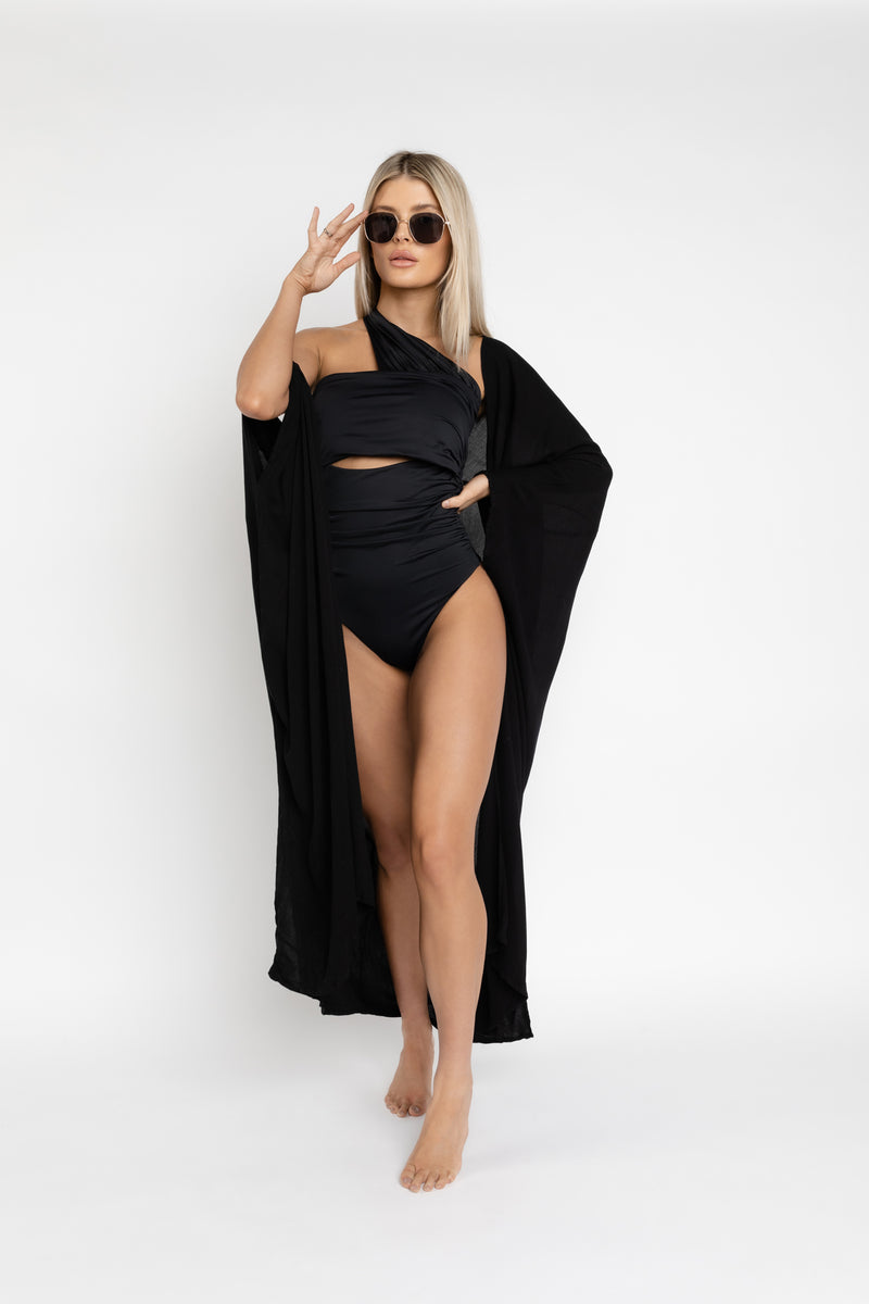 SANTORINI KIMONO COVER UP IN BLACK