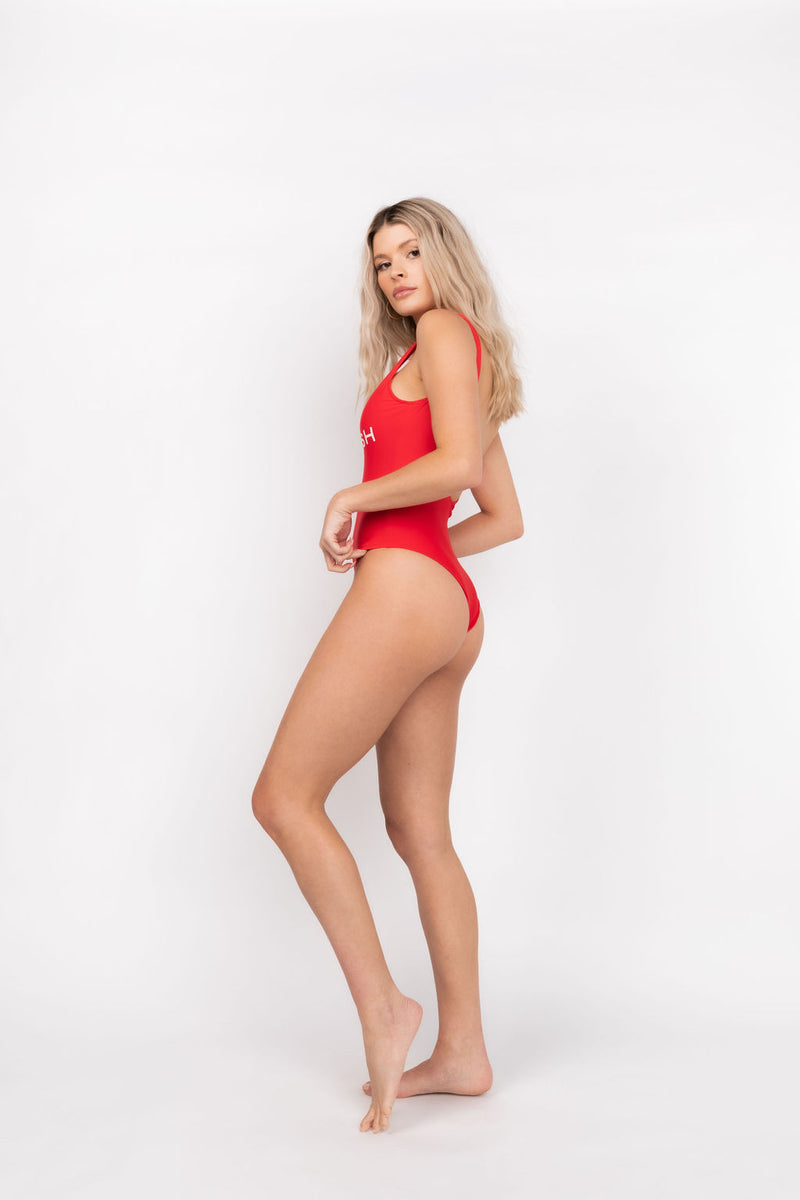 BABE WATCH KITTENISH ONE PIECE SWIMSUIT IN RED