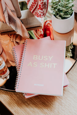 BUSY AS SHIT PINK NOTEBOOKS