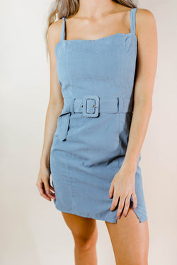ON CLOUD 9 DUSTY BLUE DRESS