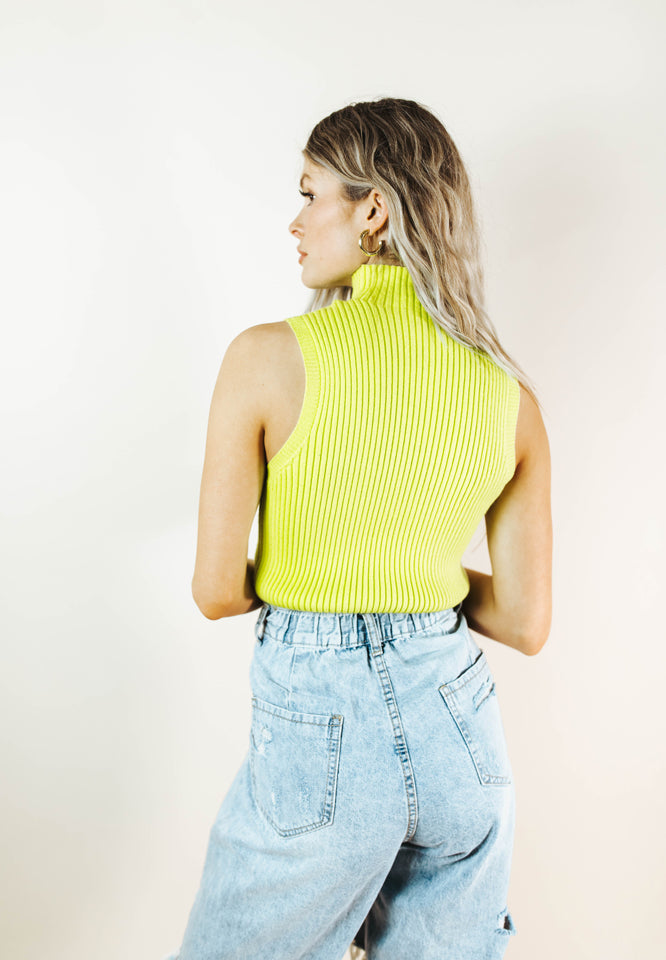 MALLORY NEON GREEN RIBBED TOP