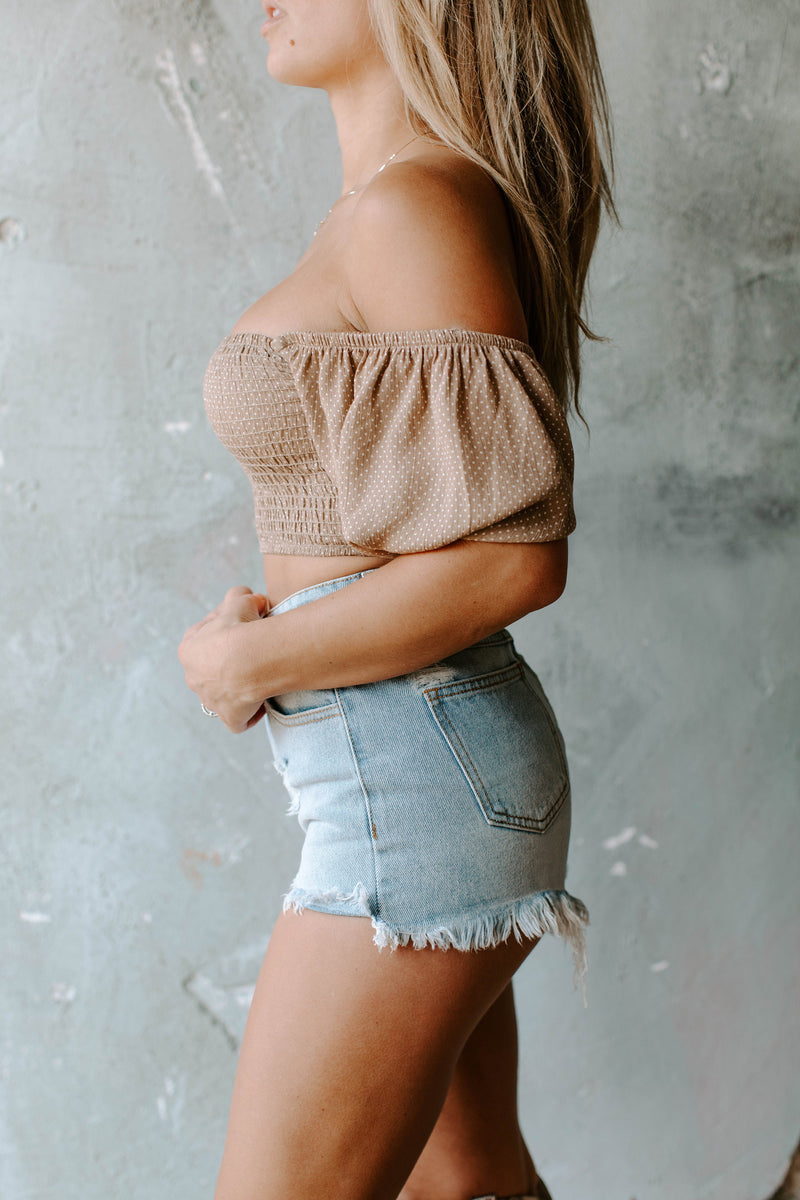 CLEO TAUPE CROP TOP