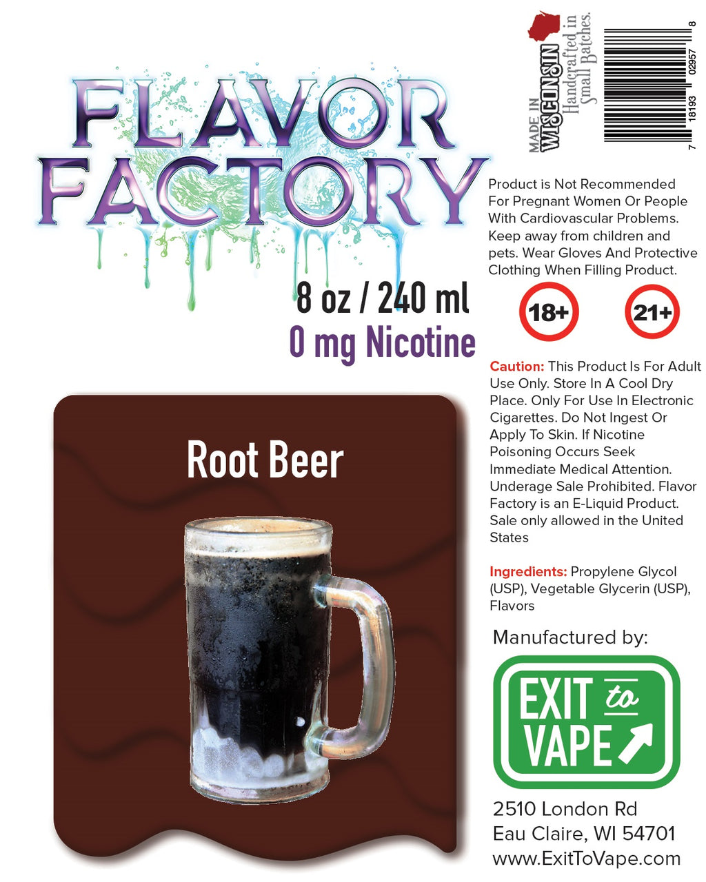Flavor Factory E-Juice - Root Beer - AZARA VAPE