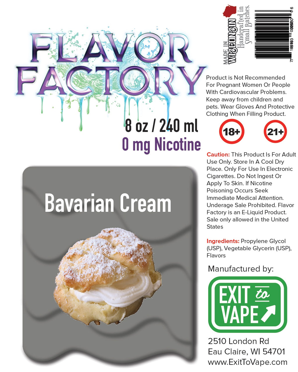 Flavor Factory E-Juice - Bavarian Cream - AZARA VAPE