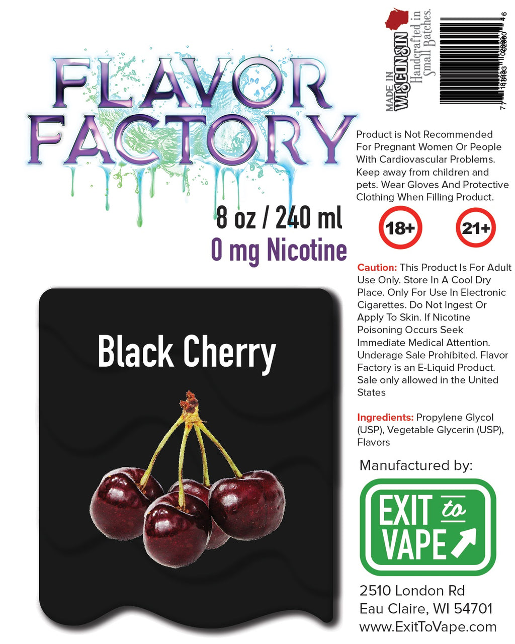 Flavor Factory E-Juice - Black Cherry - AZARA VAPE