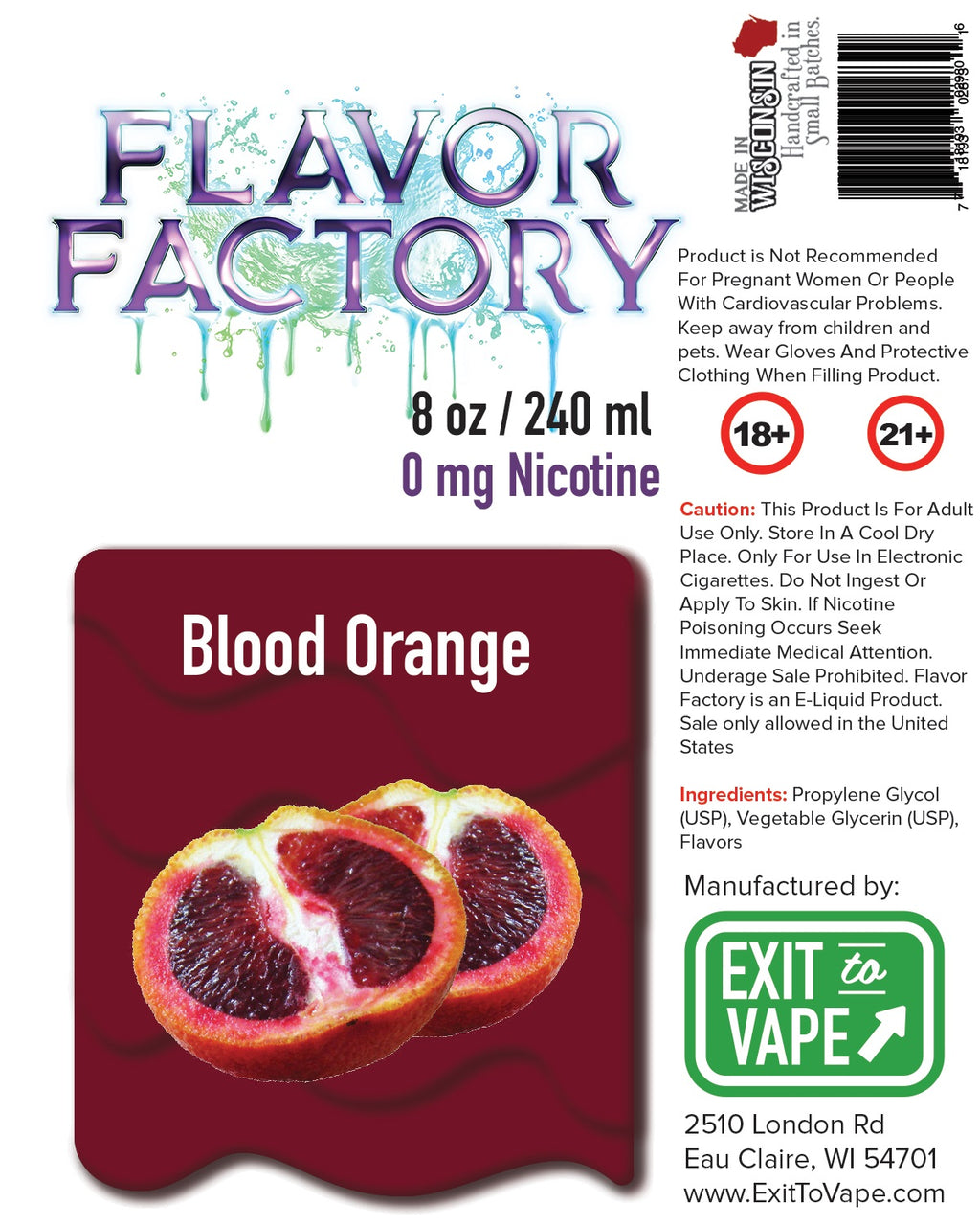 Flavor Factory E-Juice - Blood Orange - AZARA VAPE