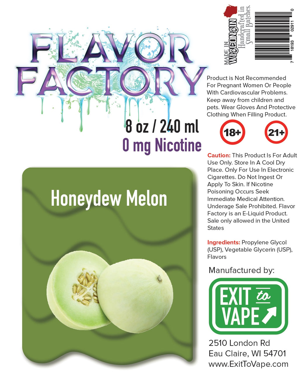 Flavor Factory E-Juice - Honeydew Melon - AZARA VAPE