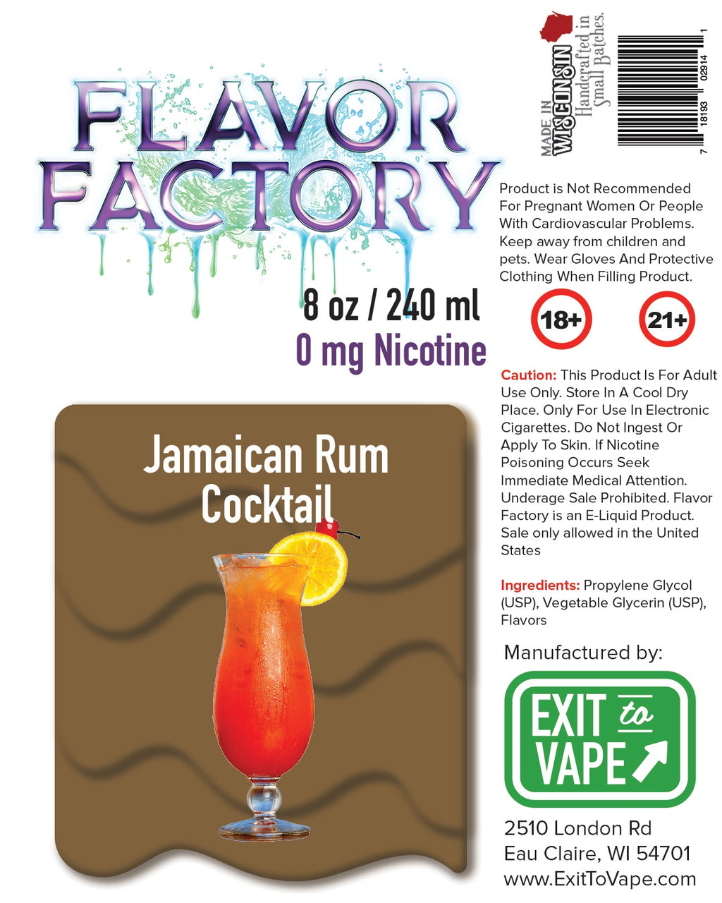 Flavor Factory E-Juice - Jamaican Rum Cocktail - AZARA VAPE