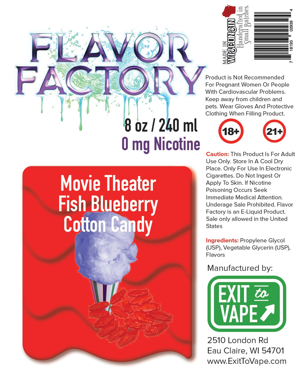 Flavor Factory E-Juice - Movie Theater Fish Blueberry Cotton Candy - AZARA VAPE