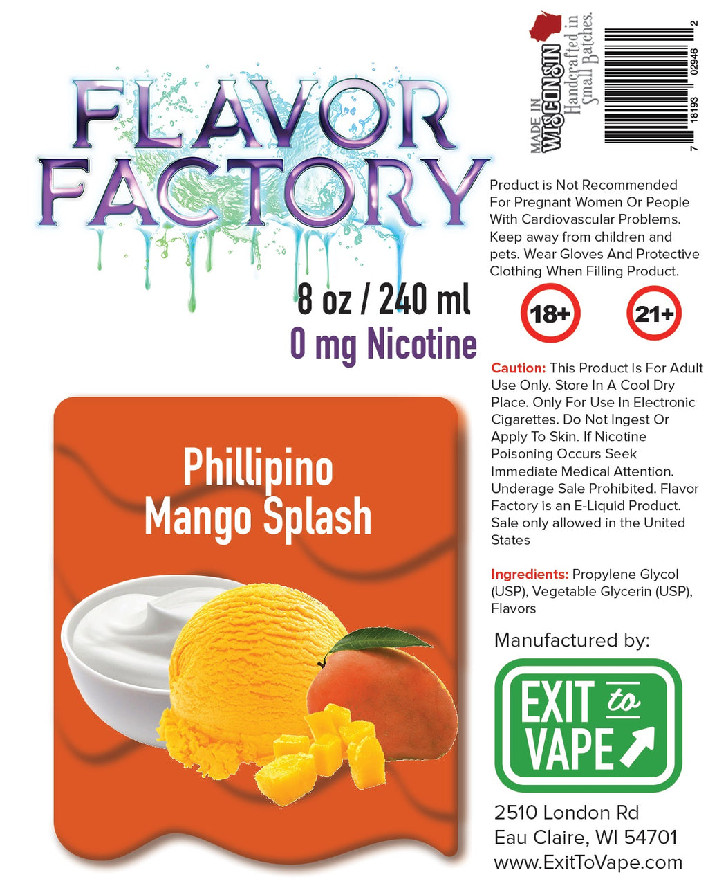 Flavor Factory E-Juice - Phillipino Mango Splash - AZARA VAPE