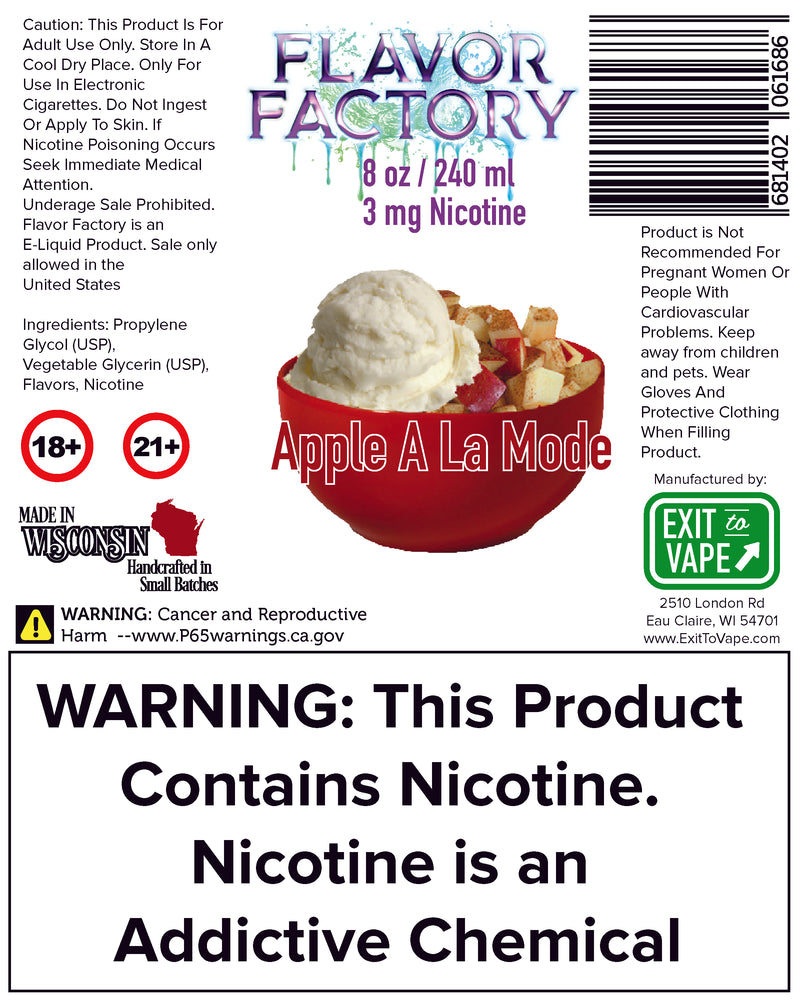 Flavor Factory E-Juice - Apple A La Mode - AZARA VAPE