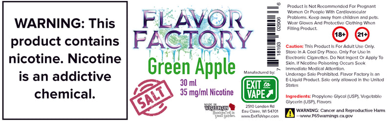 Flavor Factory Salt-Nic - Green Apple - AZARA VAPE