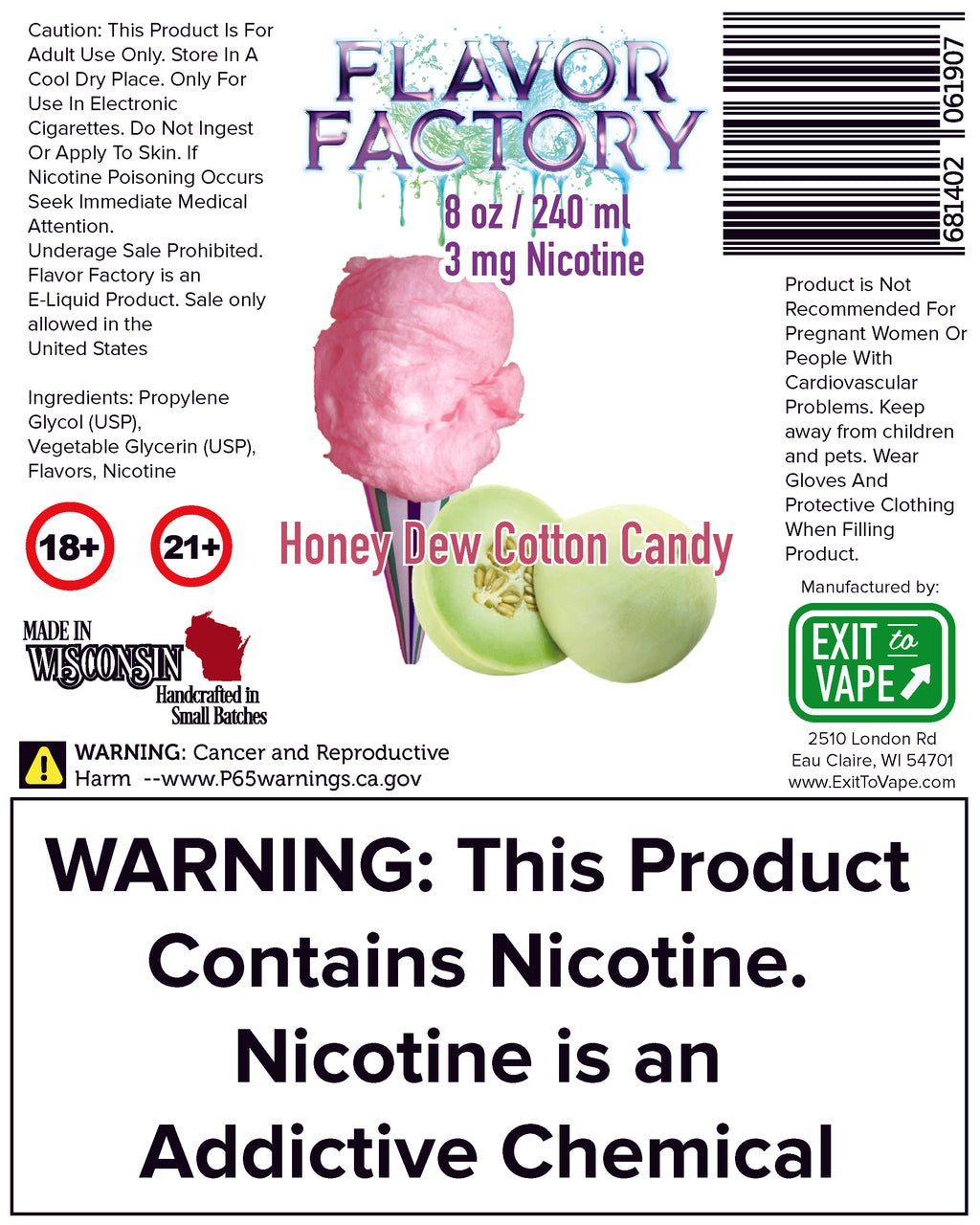 Flavor Factory E-Juice - Honeydew Cotton Candy - AZARA VAPE