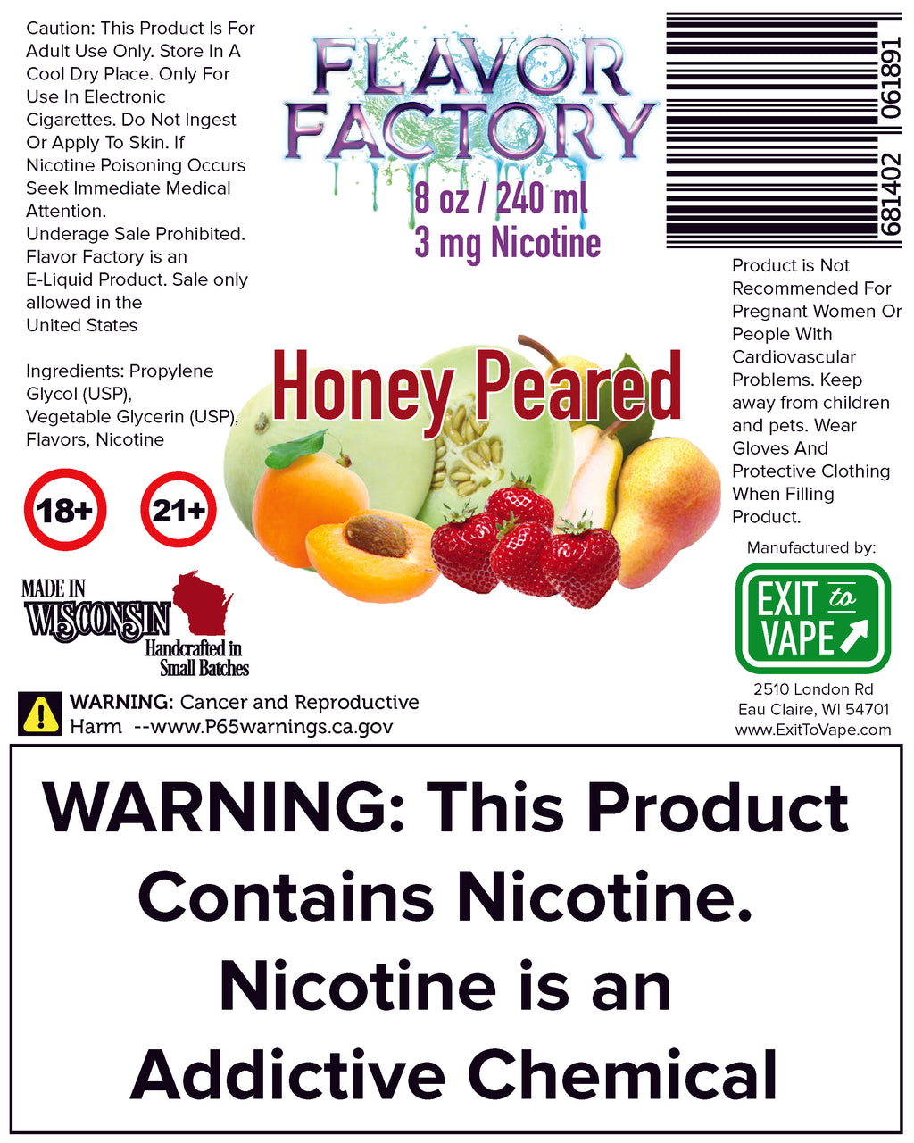 Flavor Factory E-Juice - Honey Peared - AZARA VAPE
