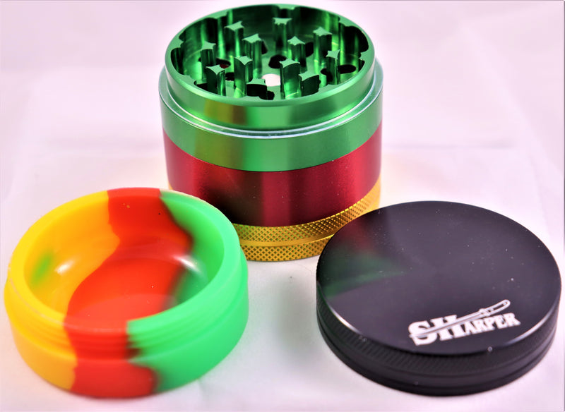 SHarper Rasta 4-piece grinder w/ silicone storage compartment - AZARA VAPE