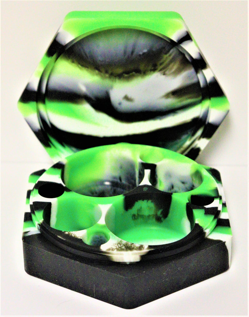 Hexagon non-stick dab slab - green/white/black marble - AZARA VAPE