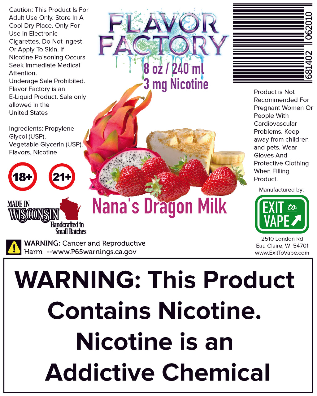 Flavor Factory E-Juice - Nana's Dragon Milk - AZARA VAPE