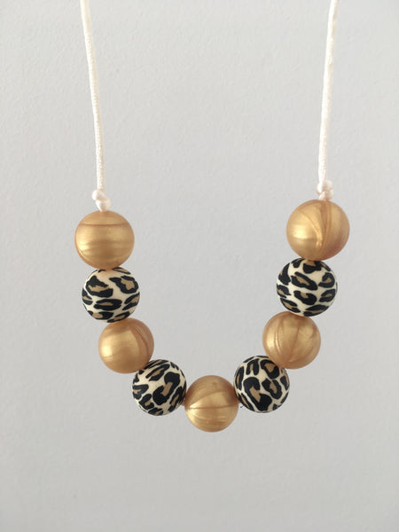 Golden Leopard Teething Necklace