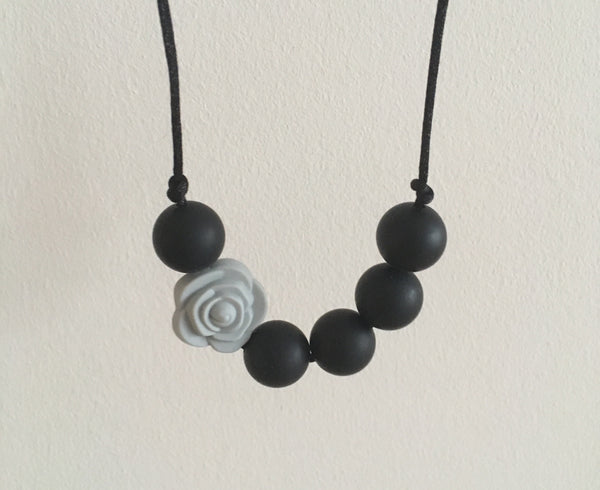 Grey Rose Teething Necklace - Little Buds Teethers