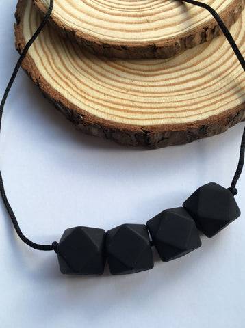 Pure Black Geometric Teething Necklace