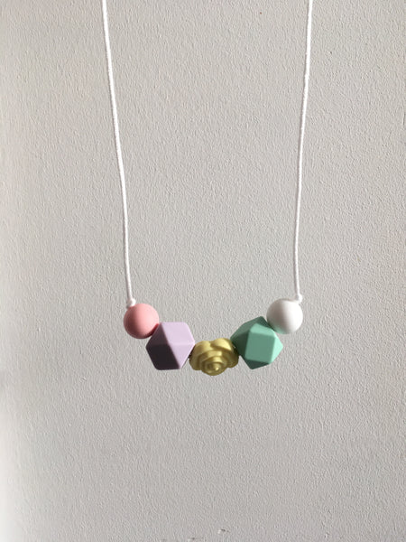 Pastel Rose Teething Necklace