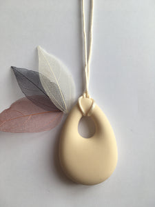 Cream Silicone Drop Teething Pendant