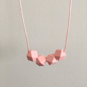 Pure Pink Geometric Teething Necklace - Little Buds Teethers