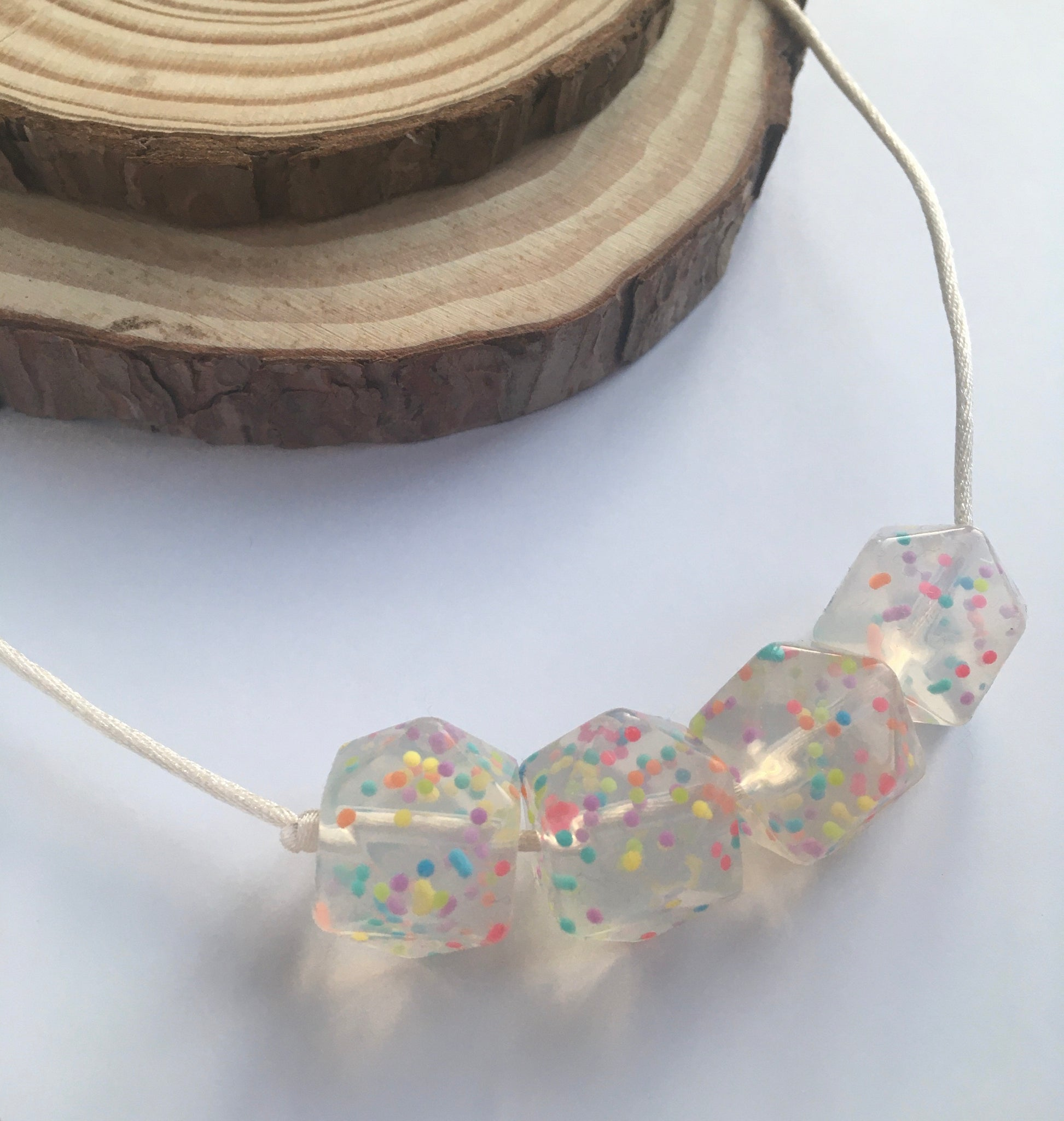 Rainbow Hexagon Teething Necklace