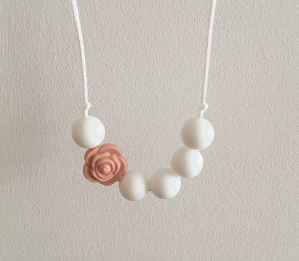 Peach Rose Teething Necklace - Little Buds Teethers