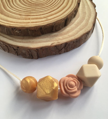 Golden Rose Teething Necklace