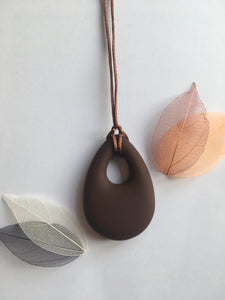 Brown Silicone Drop Teething Pendant