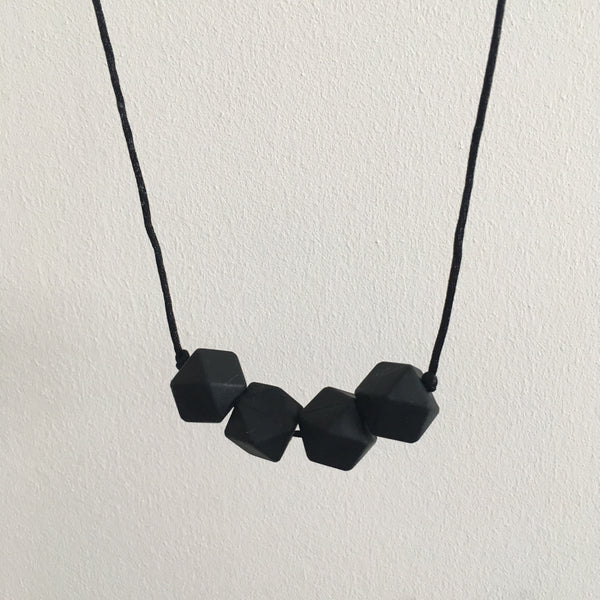 Pure Black Geometric Teething Necklace - Little Buds Teethers