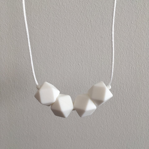 Pure White Geometric Teething Necklace - Little Buds Teethers