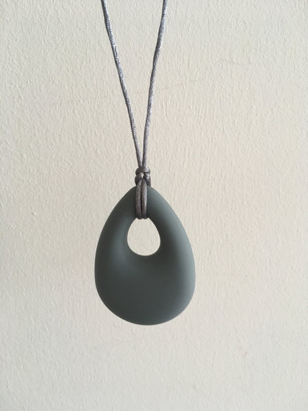 Grey Silicone Drop Pendant Teething Necklace