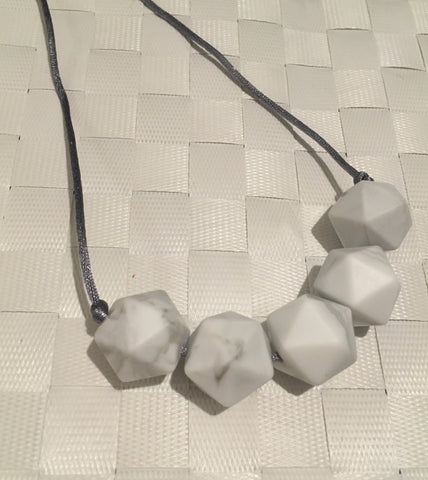 Icosahedron Marble Silicone Teething Necklace