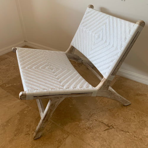 Synthetic Woven Occasional Chair - White Washed