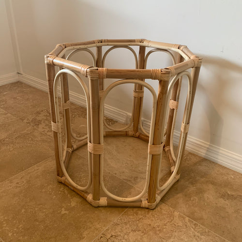 Rattan Octagon Side Table with Glass Top