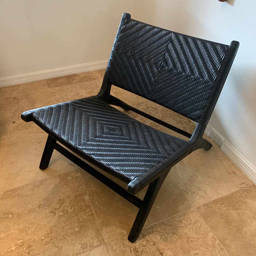 Synthetic Woven Occasional Chair - Black