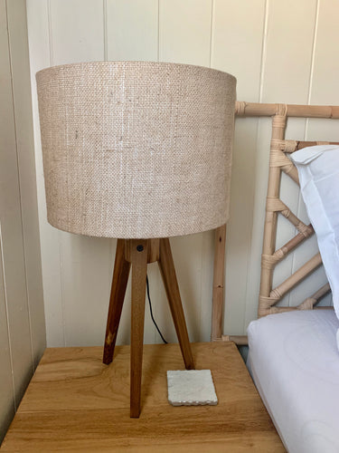 Teak Table Tripod Lamp