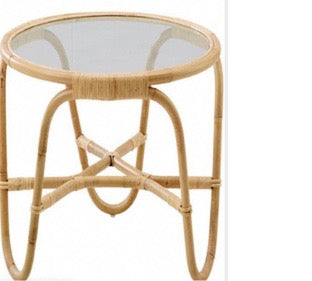 Rattan Round 3 Leg Glass Table
