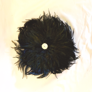 Black Feather Disc with Puka Wall Decor