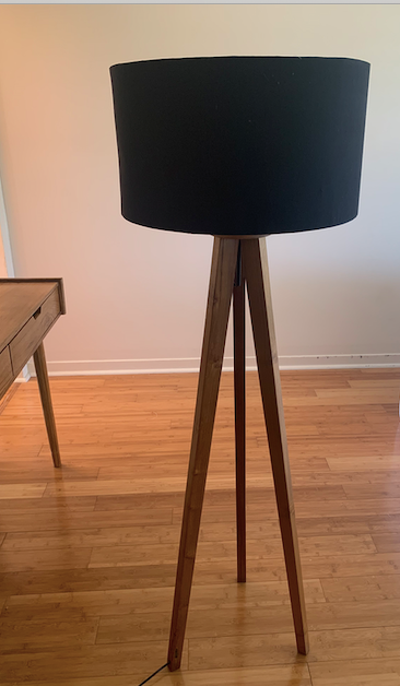 Teak Floor Tripod Lamp