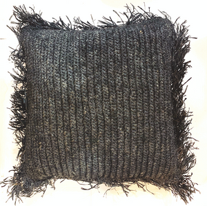 Black Natural Woven Filled Pillow Cover