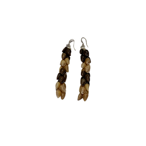 Ni'ihau Chocolate and Caramel Poleo Shell Earrings