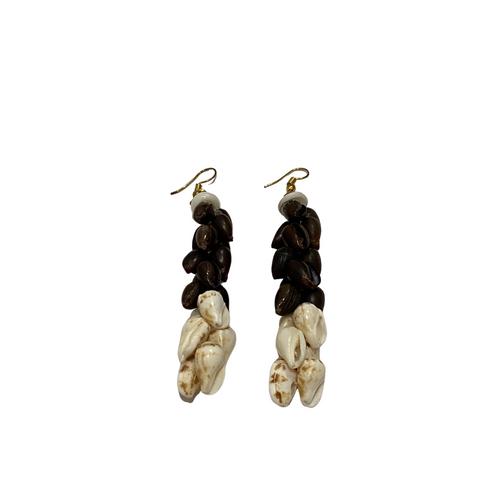 Ni'ihau Chocolate and Alilea Shell Earrings
